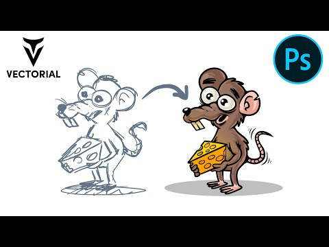 Draw a mouse cartoon in Adobe Photoshop with Wacom tablet cth-480