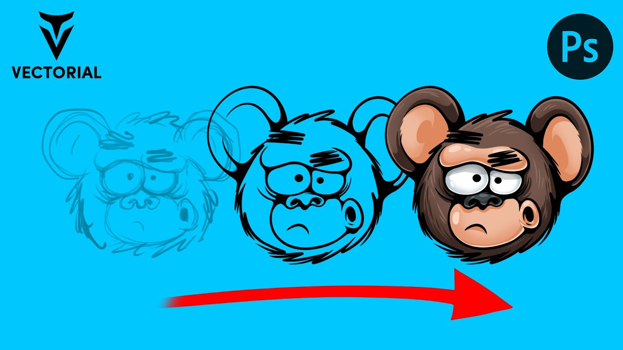 How to draw a Monkey in Adobe Photoshop 2020