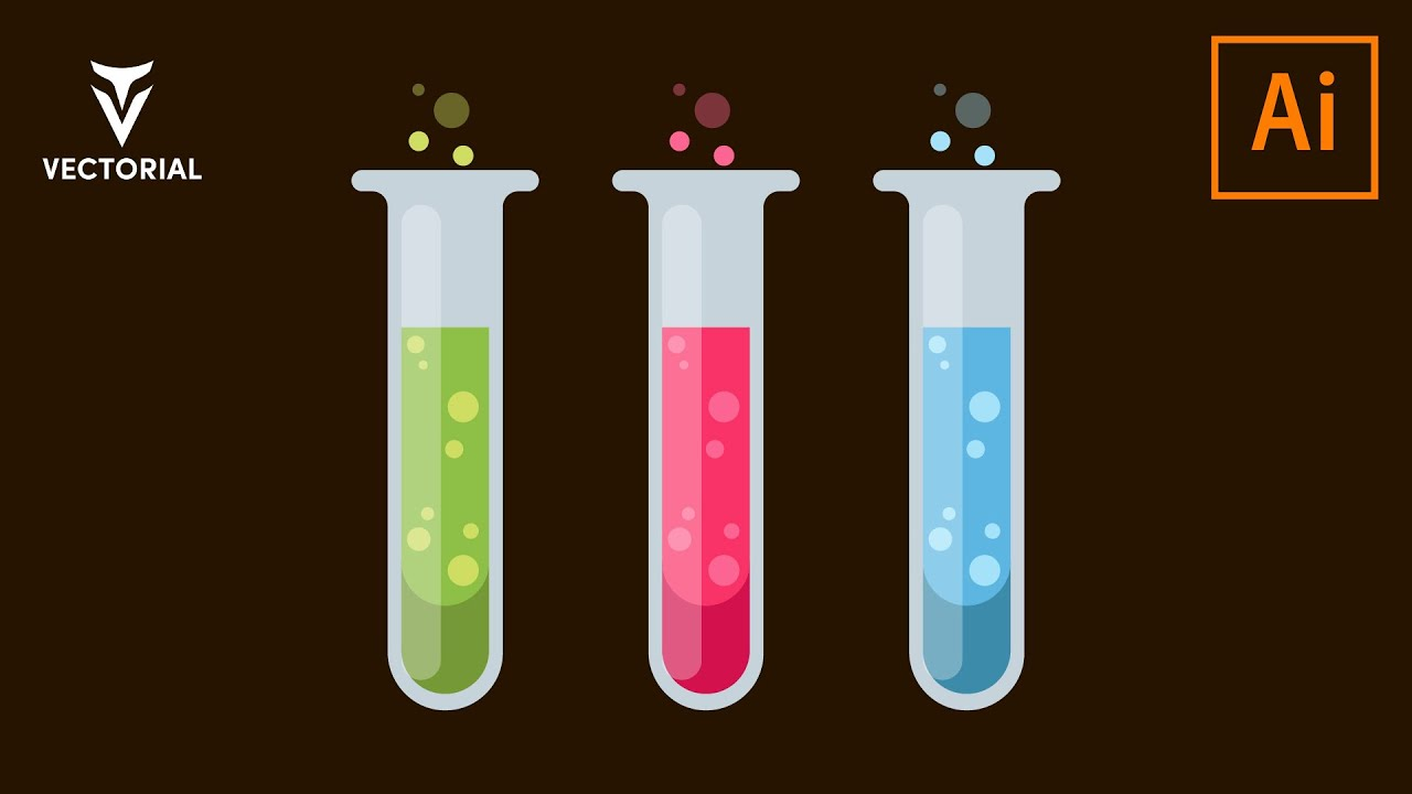 Laboratory test tubes tutorial in Adobe illustrator 2020