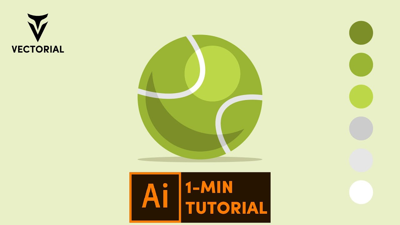 Tennis Ball tutorial in Adobe Illustrator – 1 minute tutorial for beginner