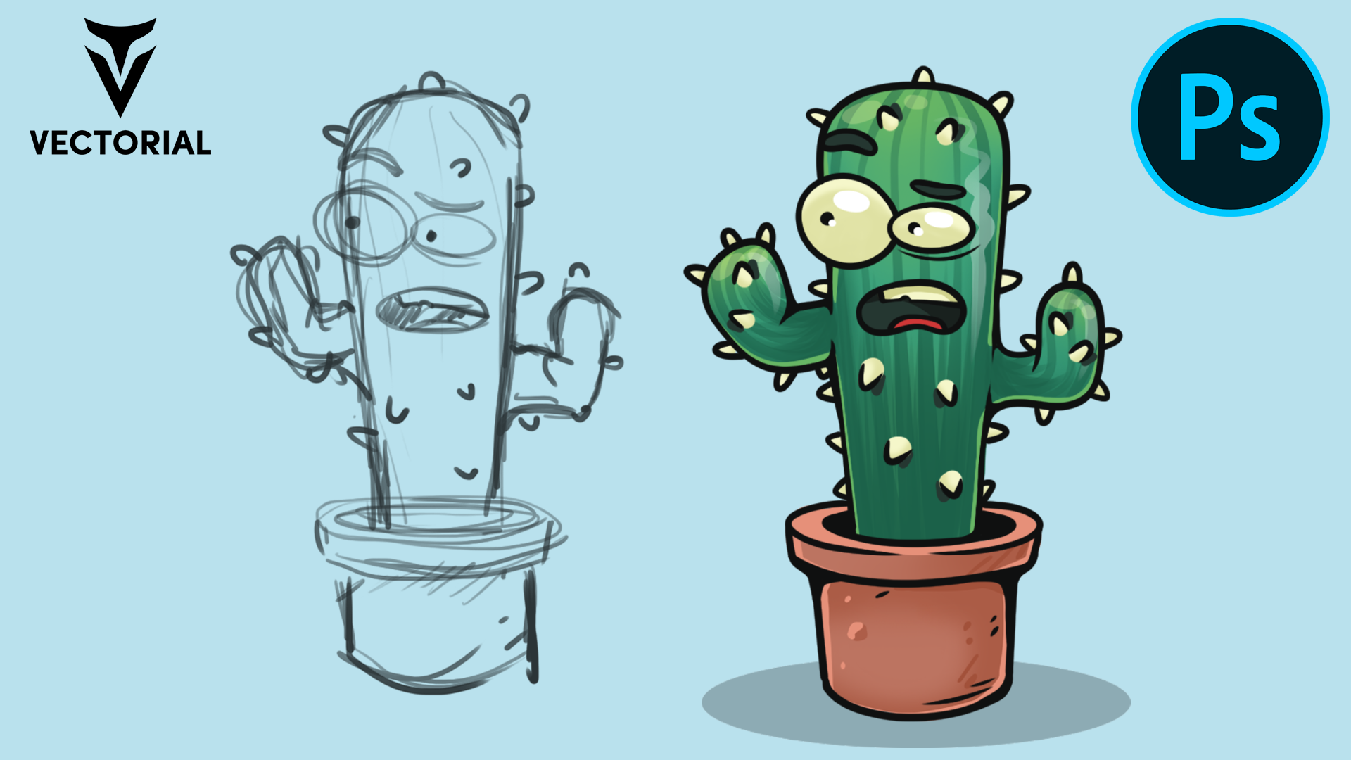 How to draw a Cactus Character in Adobe Photoshop with wacom tablet