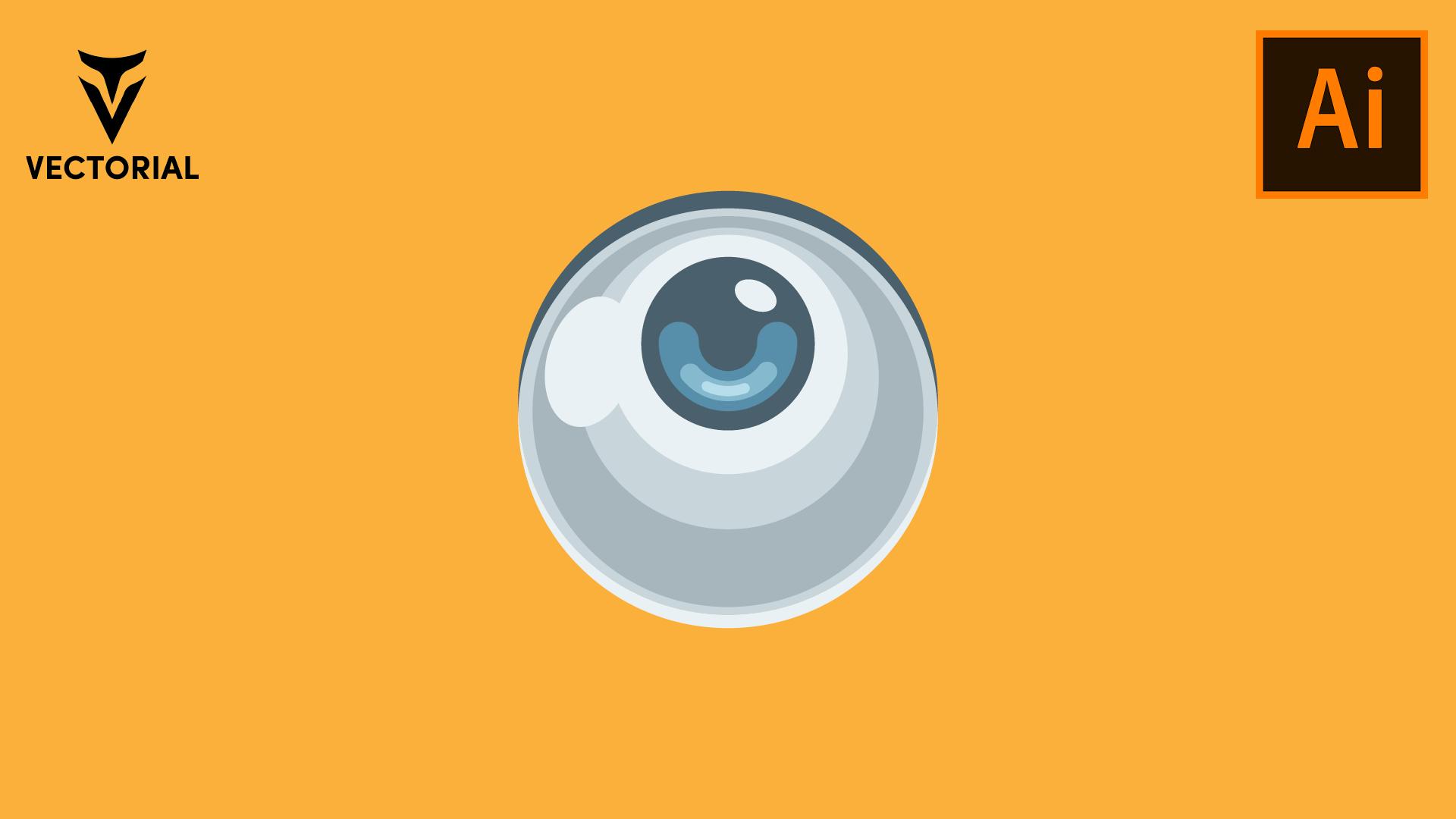 Flat design Eye tutorial in Adobe Illustrator 2020