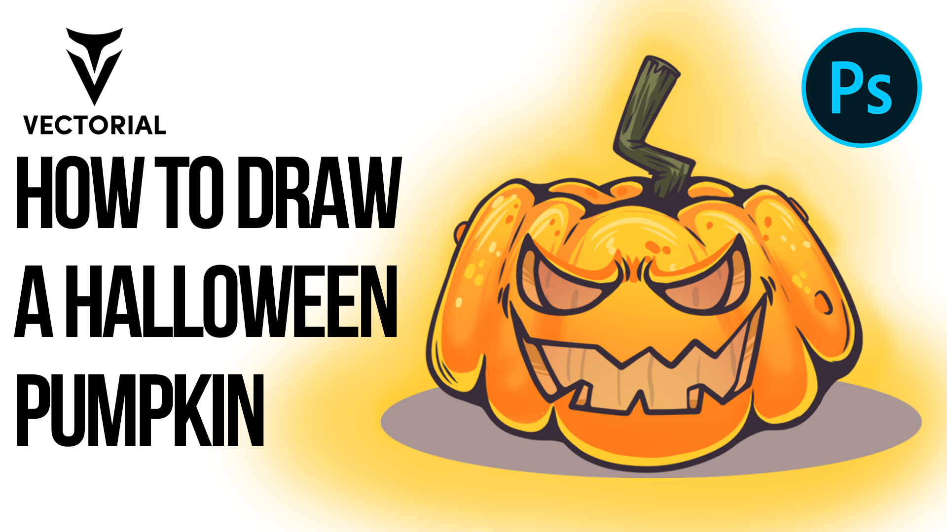 How to draw a Halloween Pumpkin in Adobe Photoshop with lazy nezumi