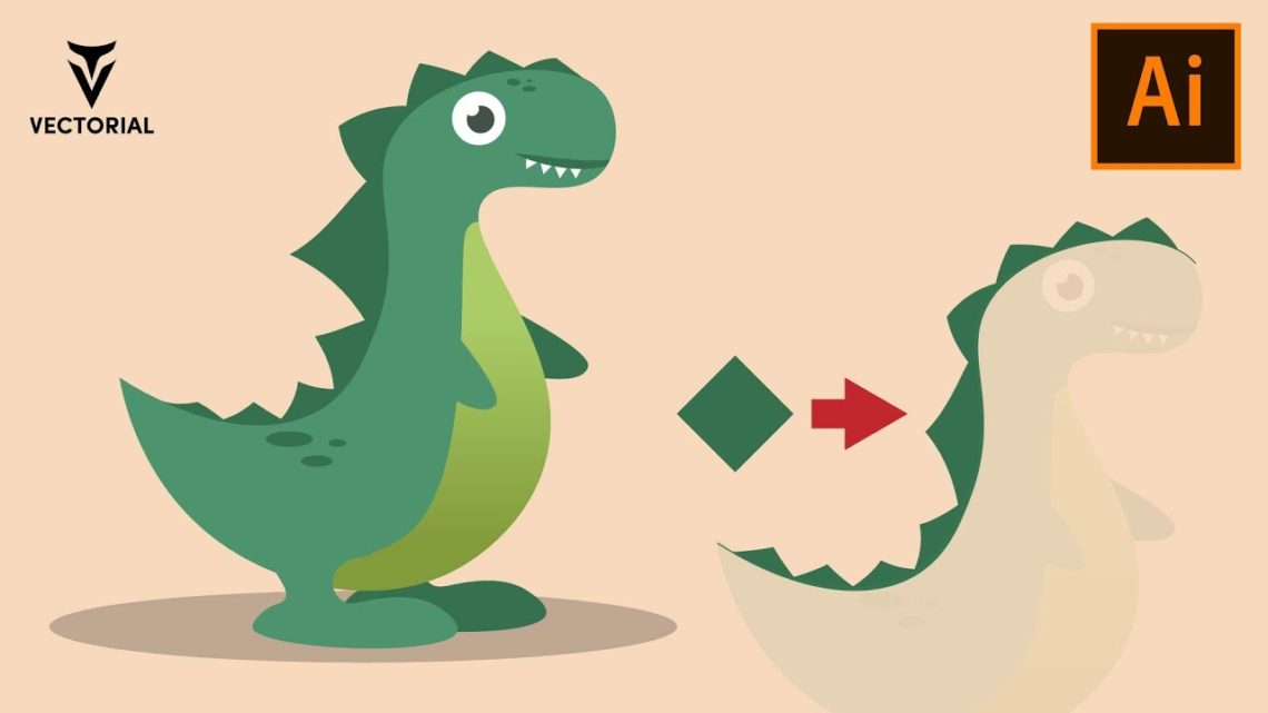 How to draw a Dino in Adobe Illustrator – Easy tutorial for beginners