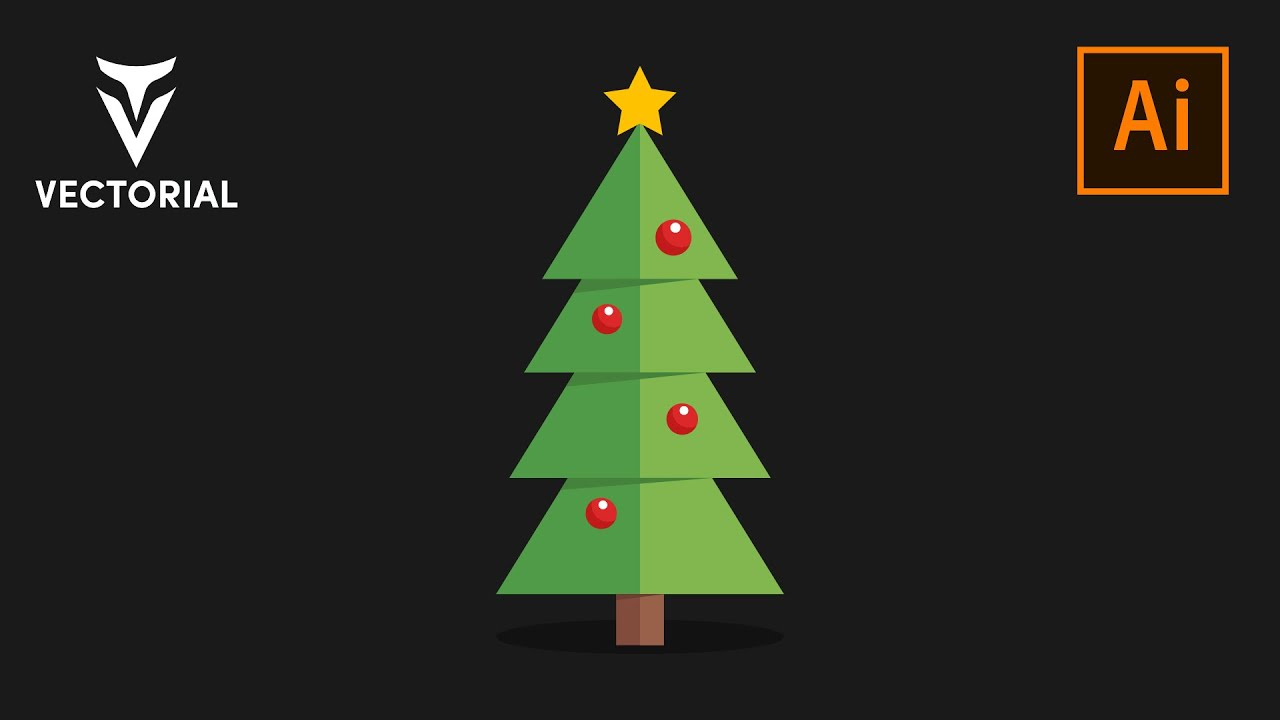 Flat Christmas tree Easy tutorial in Adobe Illustrator