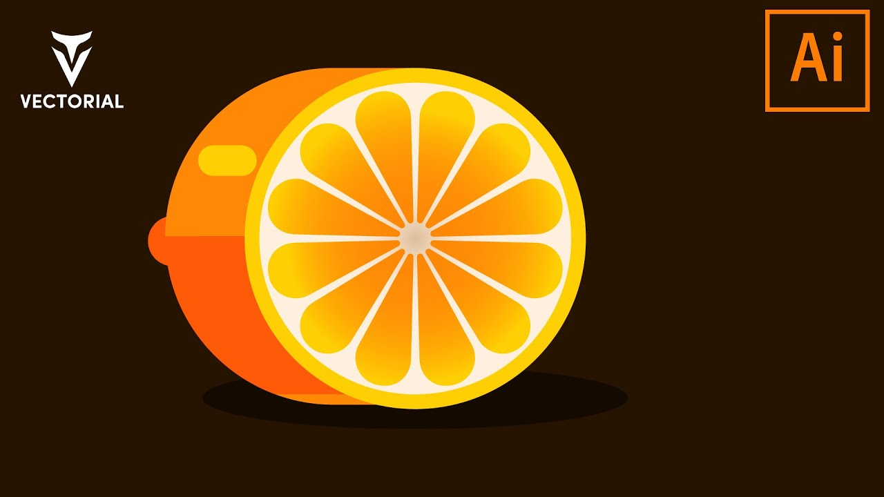 Orange fruit  tutorial in Adobe Illustrator