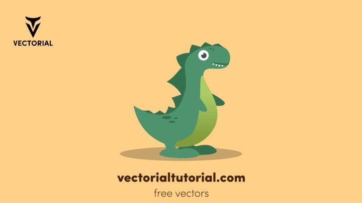 Dinosaur –  Free vector illustration, little cute dino