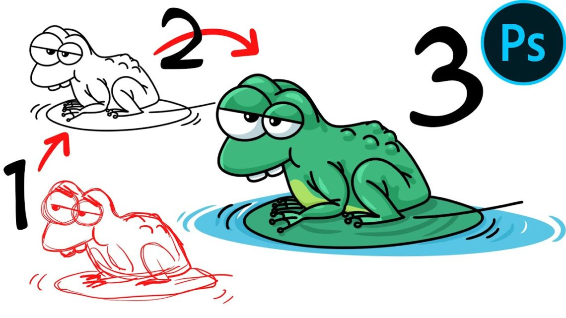 How to Draw a Frog cartoon in Adobe Photoshop