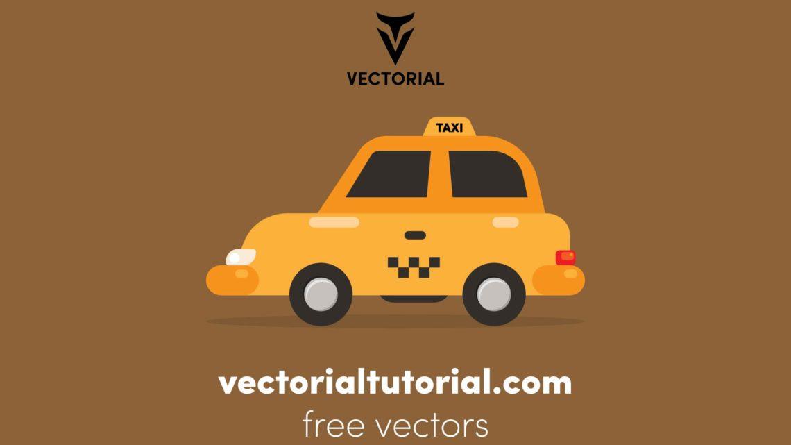 Flat design taxi car Free vector illustration