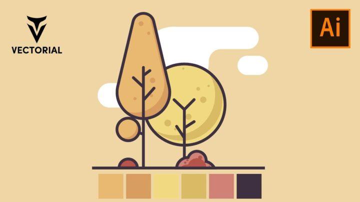 Tree tutorial in Adobe Illustrator 2020