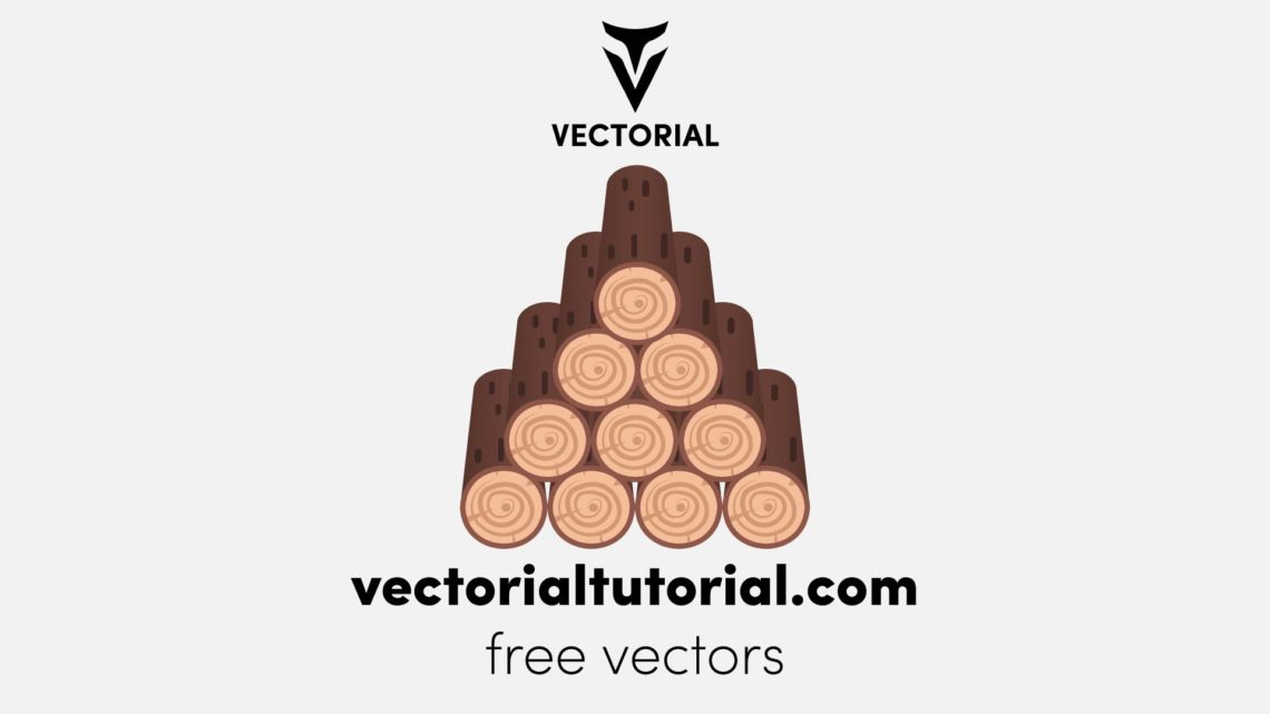 Tree cuts or a pile of firewood – Free vector illustration