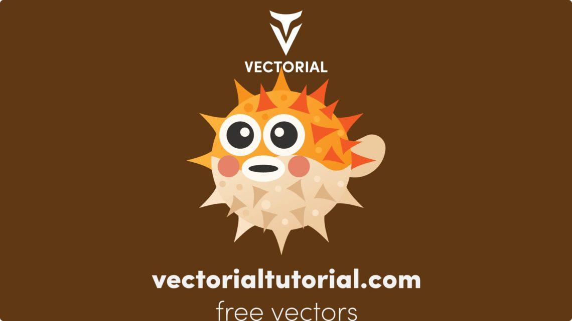 Puffer fish Free vector illustration, blowfish flat icon