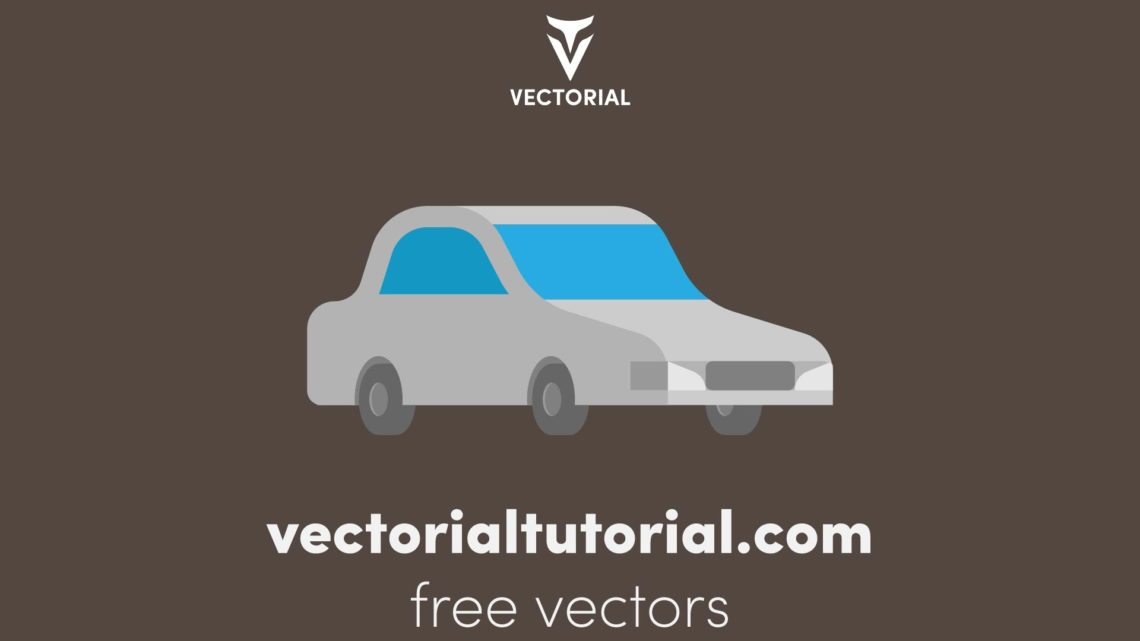 Flat design car – Free vector illustration, Front Perspective view