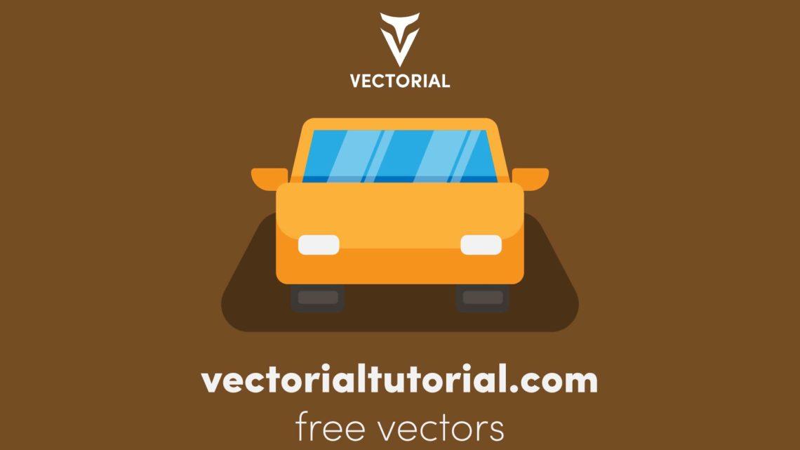 Flat design car icon , Free vector illustration, isolated on white background