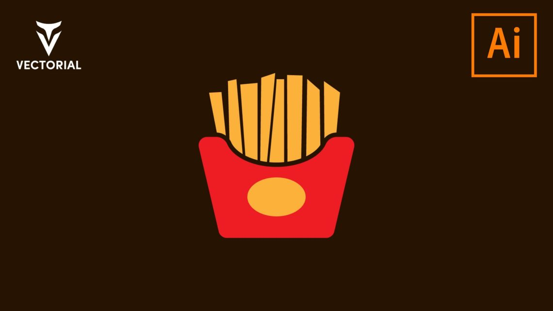 Flat design French Fries box Free vector illustration, isolated on white background