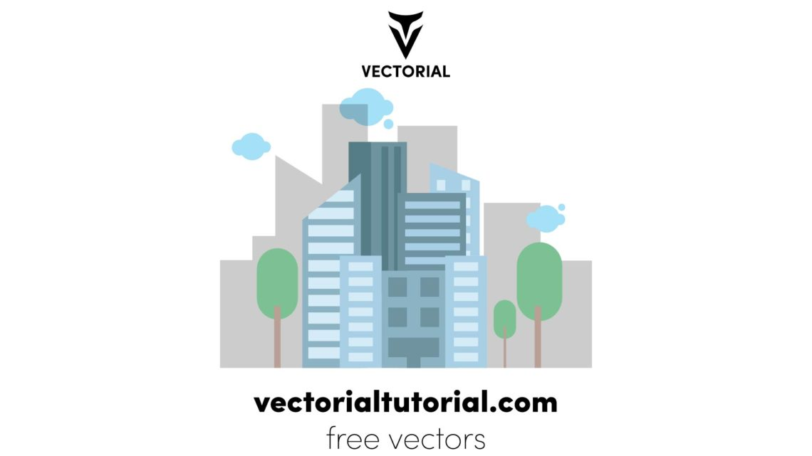 Flat design City Landscape Free vector illustration, isolated on white background