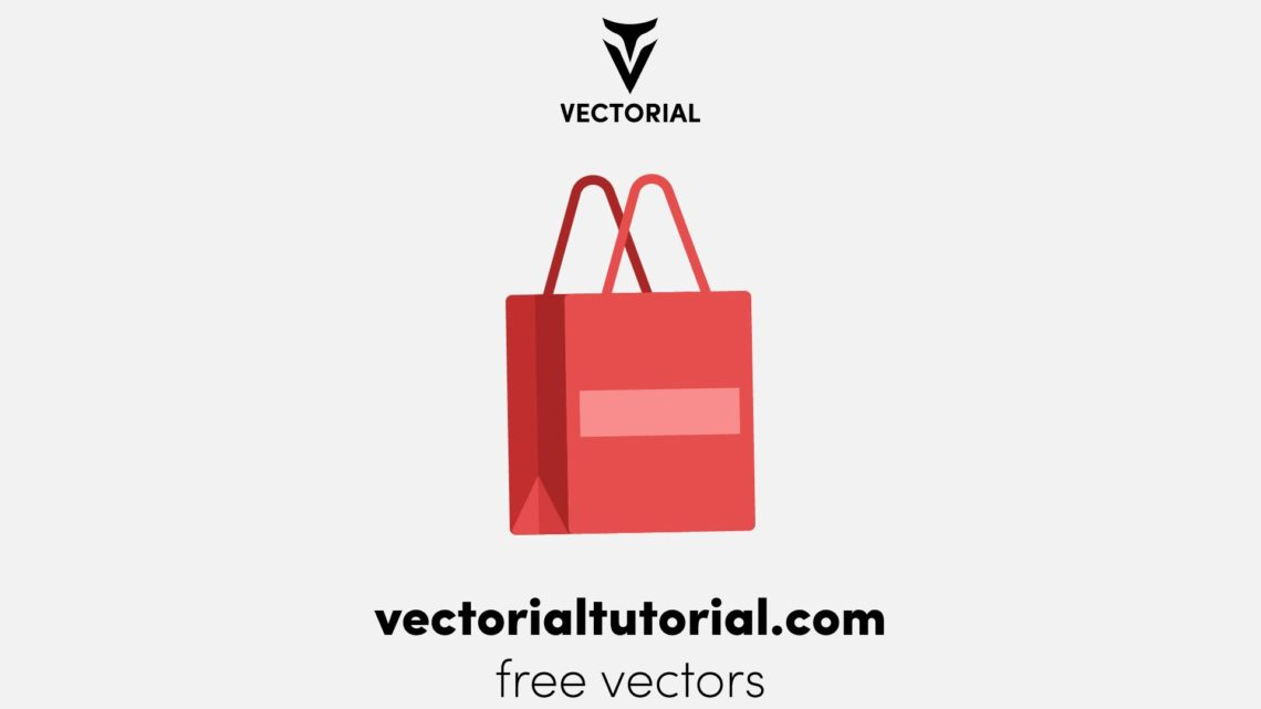 Flat design Paper Bag Free vector illustration, isolated on white background