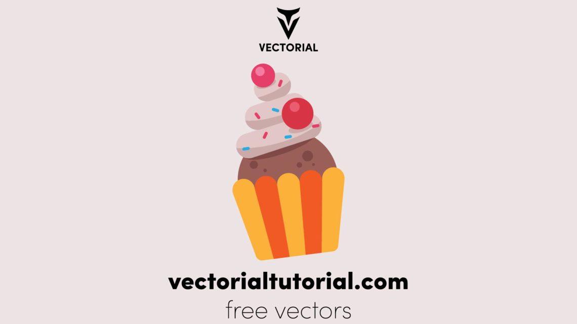 Flat design Cake Free vector illustration, isolated on white background