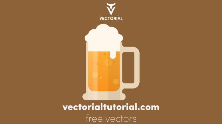 Flat design Beer Mug Free vector illustration, isolated on background