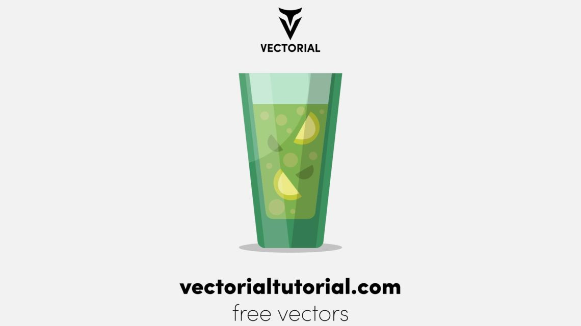 Flat design Cocktail Glass Free vector illustration, isolated on white background