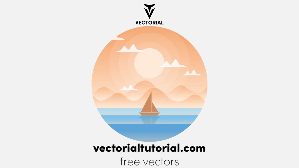 Flat desidn Sea landscape, Nature vector background, landscape with mountains and sun with boat