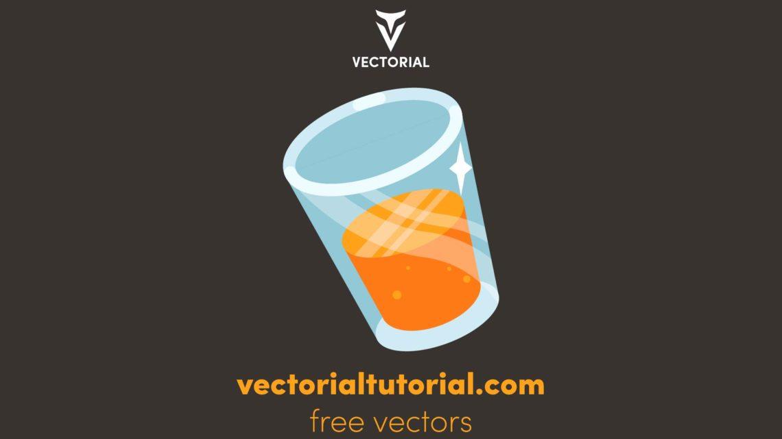 Flat design Orange glass vector illustration