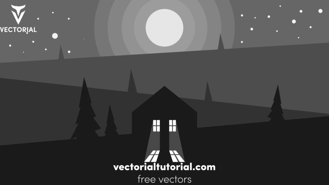 Flat design night Landscape with moon,  trees, home vector illustration