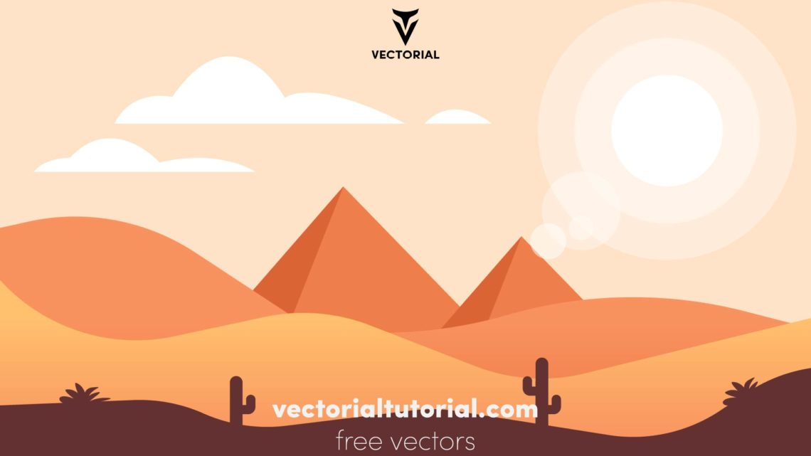 Pyramids in desert flat vector panoramic illustration. Egyptian landscape at daytime cartoon background