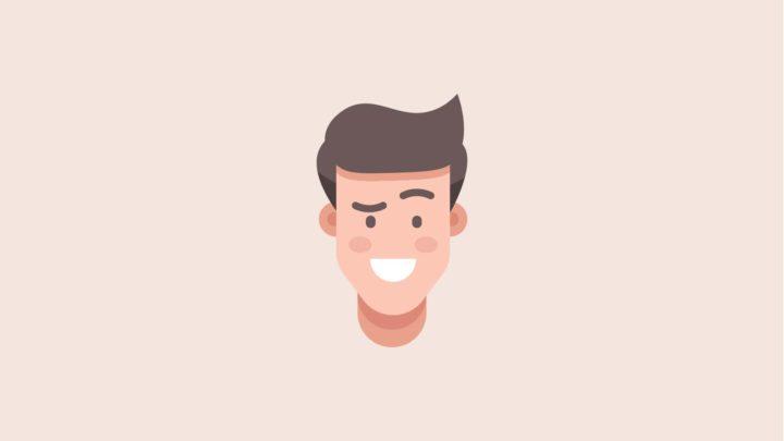 Flat design man character head vector illustration