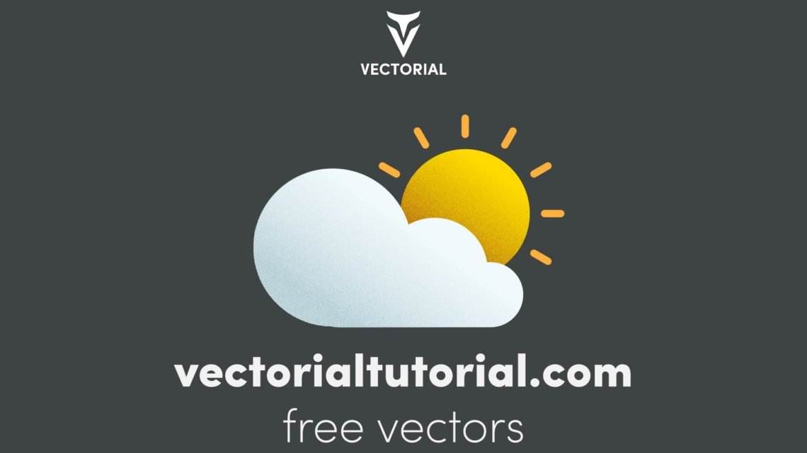 Flat design Sun Cloud, weather icon, isolated on background