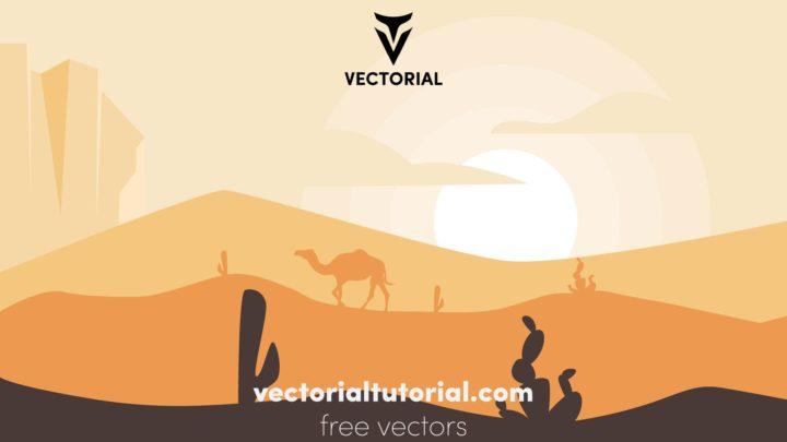 Flat desert landscape vector illustration
