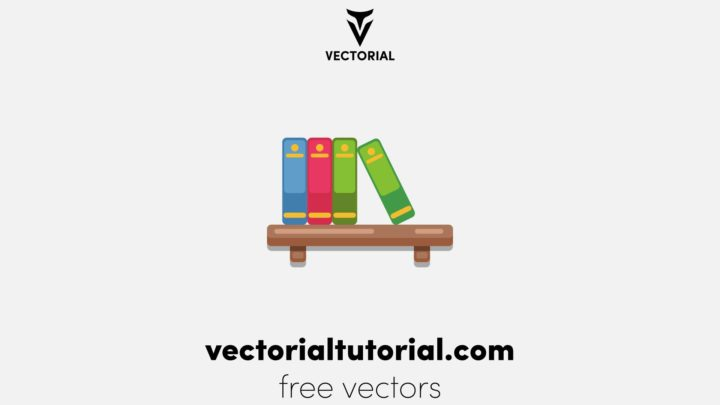 Stack of Books on the wall with bookshelves on white background vector illustration simple