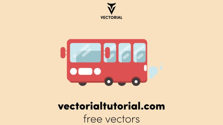 Flat design Red Bus, School bus vector illustration, isolated on background