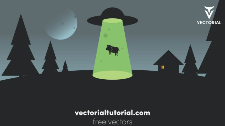 UFO abducting a cow cartoon vector illustration. Flying saucer with cow in transporter beam.