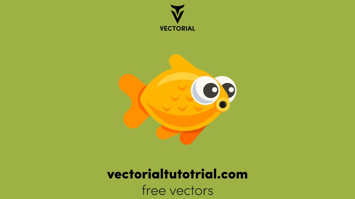 Yellow Fish vector illustration, isolated on background