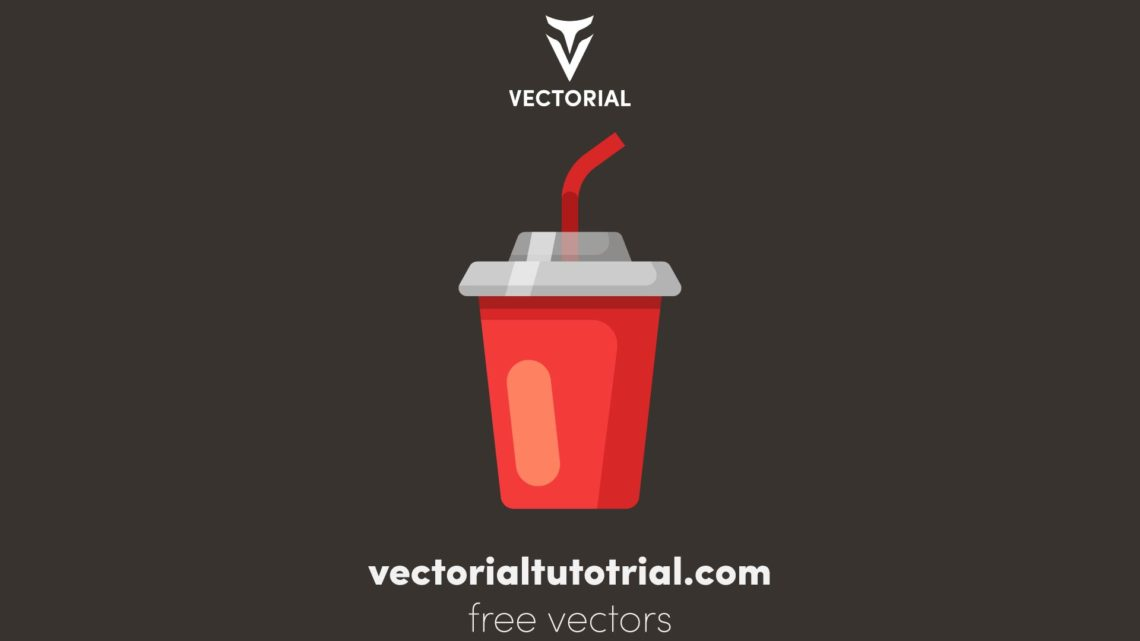 Red disposable cup with drinking straw vector illustration. Isolated on white background