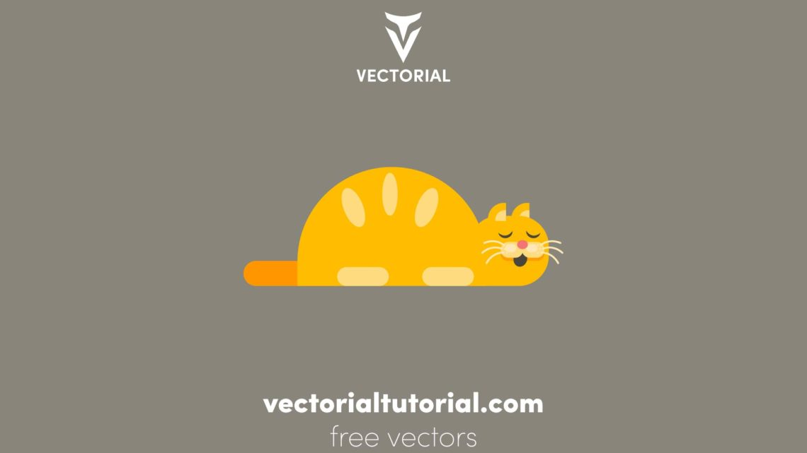 Flat design sleeping cat vector illustration, isolated on background