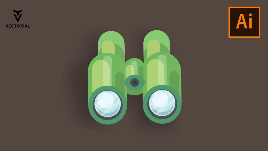 Binoculars vector illustration, binoculars flat icon, isolated on white background