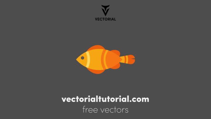Flat design Fish vector illustration, Fish flat icon